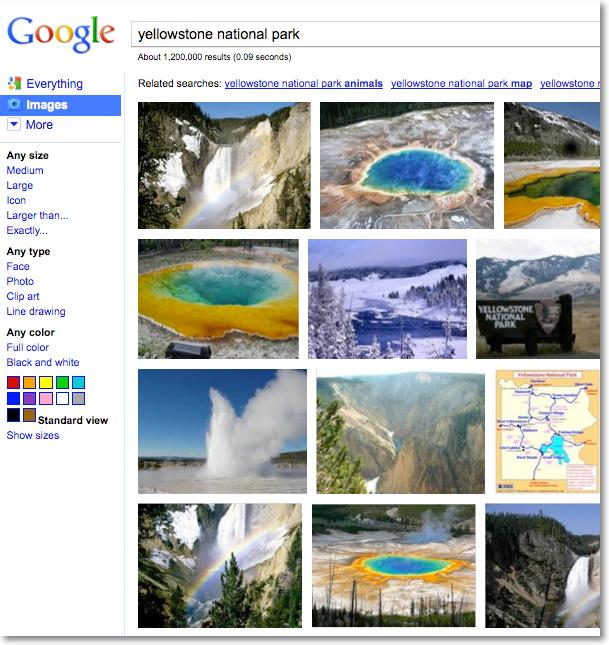 Google Bildersuche Yellowstone Nationalpark